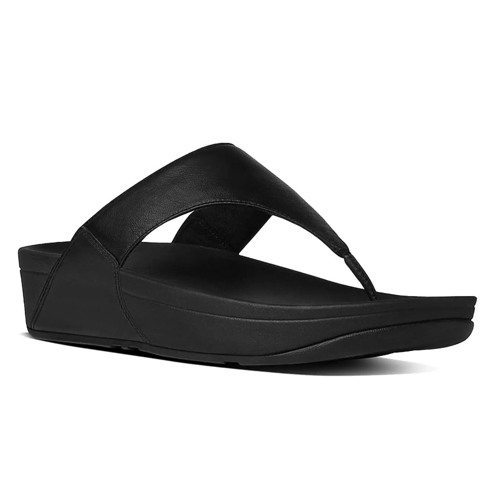 FitFlop W Lulu Leather Toepost Sandal - BLACK
