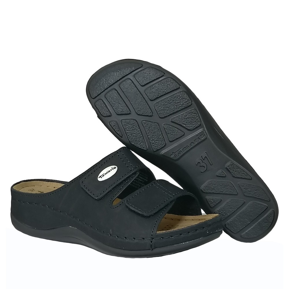 27510 Tamaris W Slipper med Velcro - BLACK
