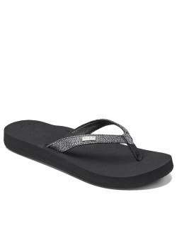 01384 Reef W Star Cushion Sassy Sandal - BLACK-SILVER