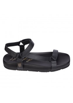 05623 Hilfiger W Interlock Flat Sandal - BLACK - 01