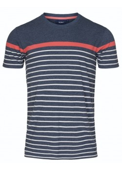 20-7-389 Sea Ranch M Malthe T-shirt - 4144 NAVY MELANGE_SPICED CORAL_PEARL
