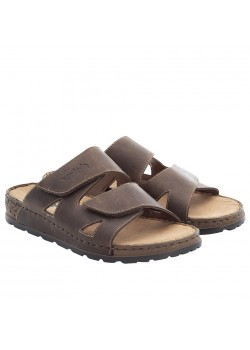 25691 Rieker M Slip-On Læder Sandal - BROWN