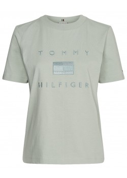 29582 Tommy Hilfiger W Logo Embroidery Crew Neck T-shirt - JADE
