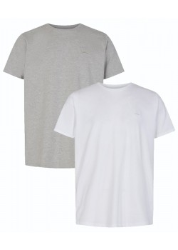 13357 Signal M Basic T-shirt 2-pack - 4057 WHITEGREY