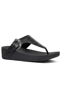 AK3 FitFlop W Lottie Croco Leather Sandal - 090 ALL-BLACK