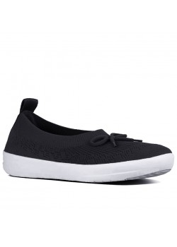 E90 FitFlop W Uberknit Slip-On Ballerina - BLACK