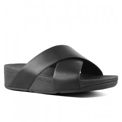 FitFlop W Lulu Cross Leather Slide Sandal